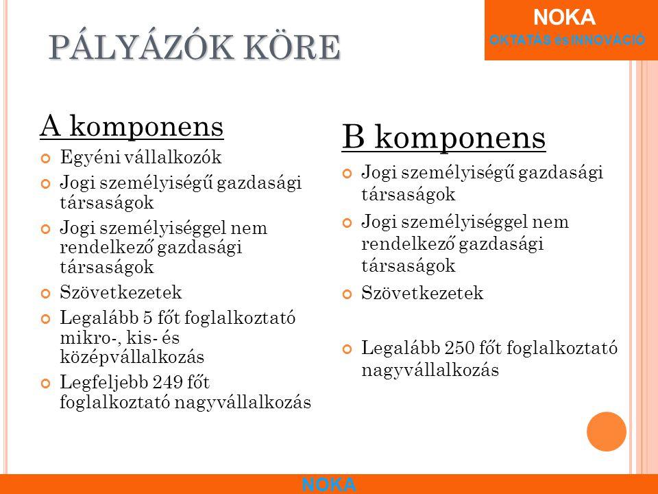 NOKA OKTATÁS és INNOVÁCIÓ NOKA A DMINISZTRATÍV INFORMÁCIÓK A komponens 2009.