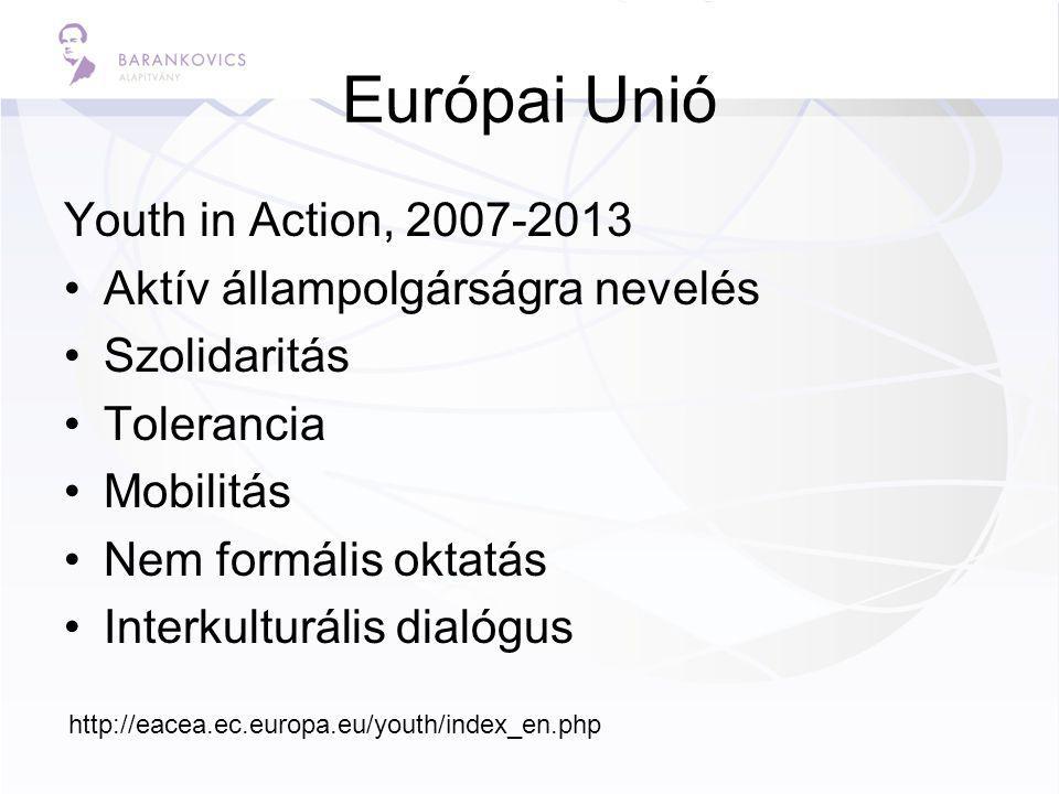Európai Unió Youth in Action, 2007-2013 Aktív állampolgárságra nevelés Szolidaritás Tolerancia Mobilitás Nem formális oktatás Interkulturális dialógus http://eacea.ec.europa.eu/youth/index_en.php
