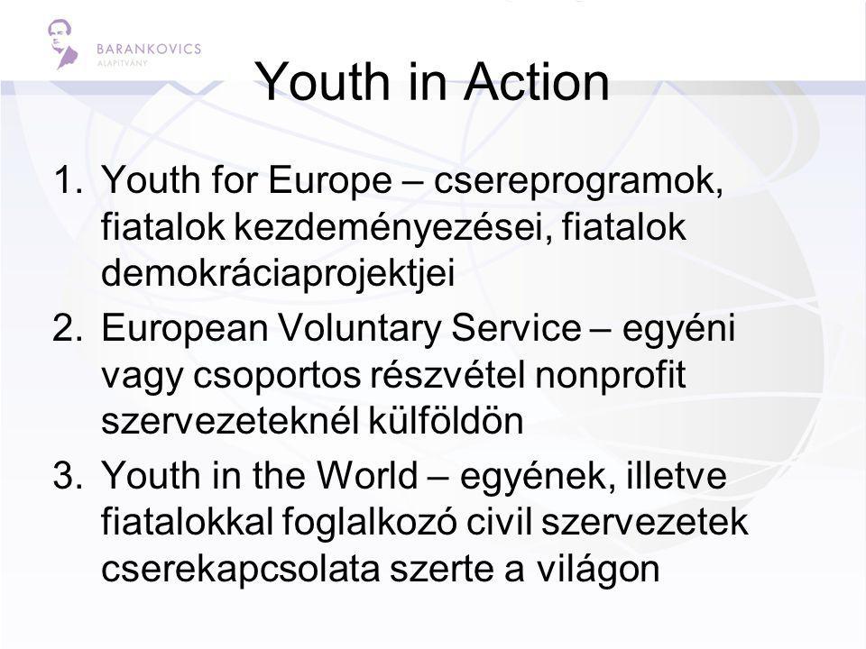 Youth in Action 1.Youth for Europe – csereprogramok, fiatalok kezdeményezései, fiatalok demokráciaprojektjei 2.European Voluntary Service – egyéni vagy csoportos részvétel nonprofit szervezeteknél külföldön 3.Youth in the World – egyének, illetve fiatalokkal foglalkozó civil szervezetek cserekapcsolata szerte a világon
