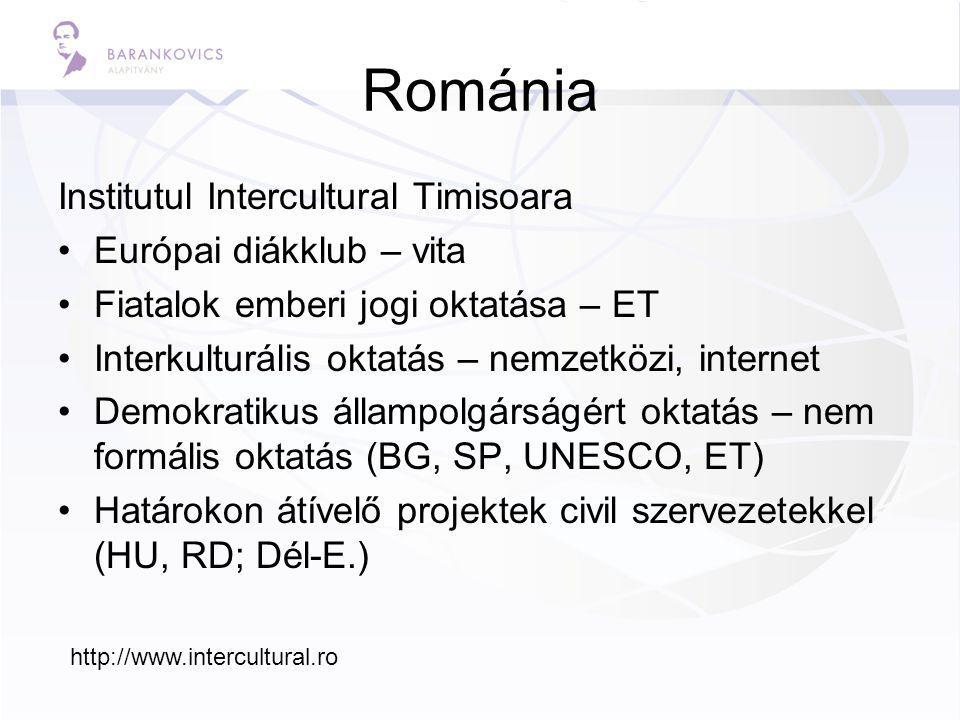 Románia Institutul Intercultural Timisoara Európai diákklub – vita Fiatalok emberi jogi oktatása – ET Interkulturális oktatás – nemzetközi, internet Demokratikus állampolgárságért oktatás – nem formális oktatás (BG, SP, UNESCO, ET) Határokon átívelő projektek civil szervezetekkel (HU, RD; Dél-E.) http://www.intercultural.ro