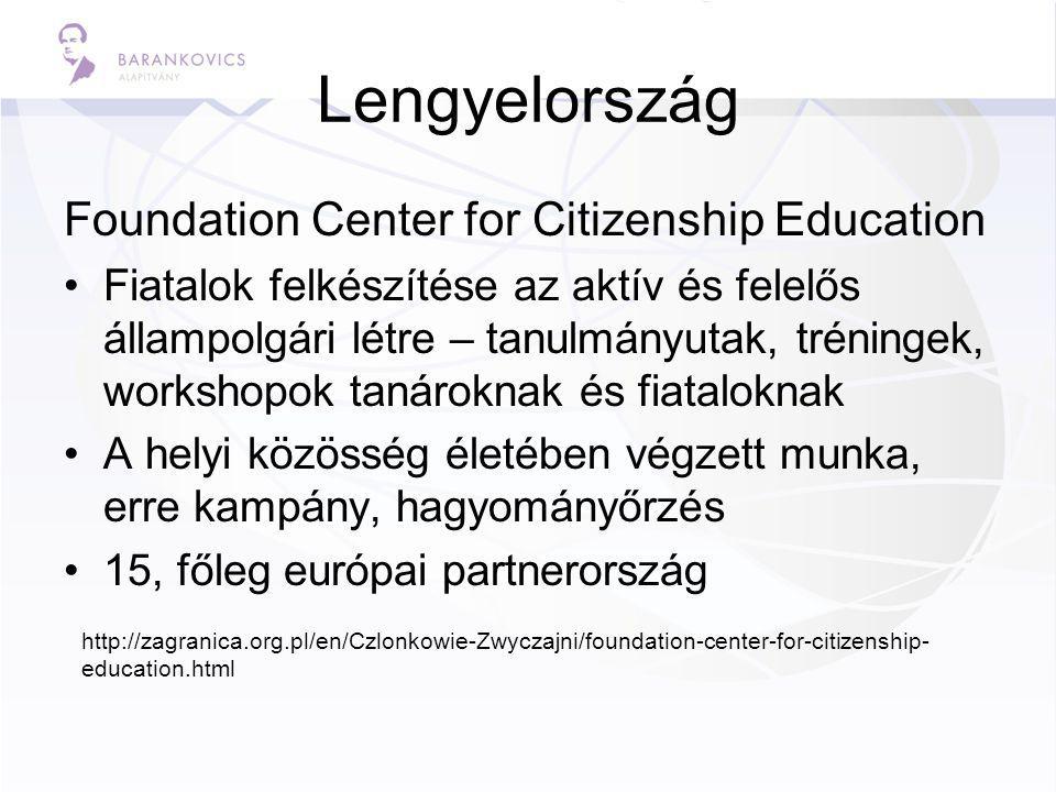 Lengyelország Foundation Center for Citizenship Education Fiatalok felkészítése az aktív és felelős állampolgári létre – tanulmányutak, tréningek, workshopok tanároknak és fiataloknak A helyi közösség életében végzett munka, erre kampány, hagyományőrzés 15, főleg európai partnerország http://zagranica.org.pl/en/Czlonkowie-Zwyczajni/foundation-center-for-citizenship- education.html