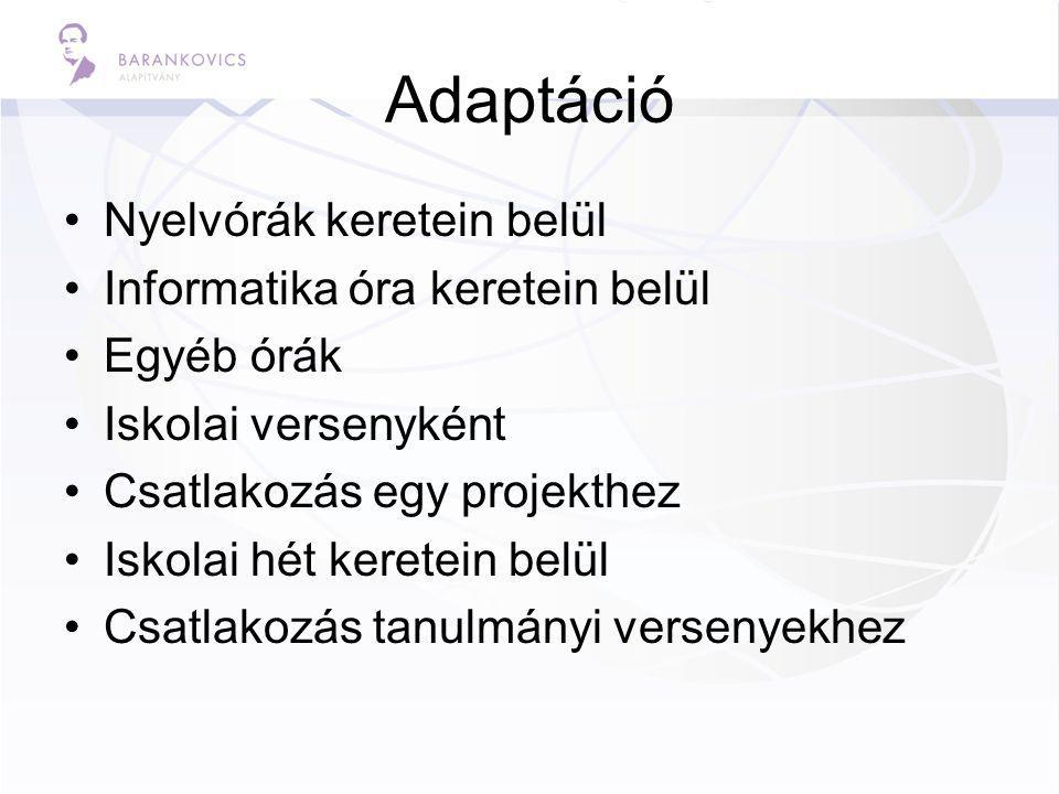 Adaptáció Nyelvórák keretein belül Informatika óra keretein belül Egyéb órák Iskolai versenyként Csatlakozás egy projekthez Iskolai hét keretein belül Csatlakozás tanulmányi versenyekhez
