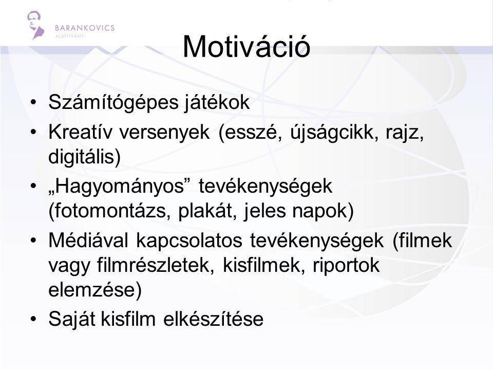 """Motiváció Számítógépes játékok Kreatív versenyek (esszé, újságcikk, rajz, digitális) """"Hagyományos tevékenységek (fotomontázs, plakát, jeles napok) Médiával kapcsolatos tevékenységek (filmek vagy filmrészletek, kisfilmek, riportok elemzése) Saját kisfilm elkészítése"""