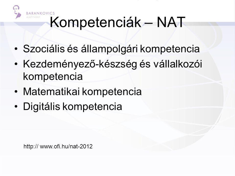 Kompetenciák – NAT Szociális és állampolgári kompetencia Kezdeményező-készség és vállalkozói kompetencia Matematikai kompetencia Digitális kompetencia http:// www.ofi.hu/nat-2012