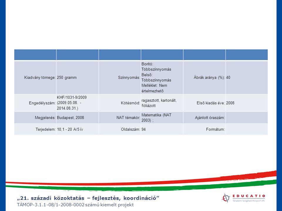 """""""21. századi közoktatás – fejlesztés, koordináció"""" TÁMOP-3.1.1-08/1-2008-0002 számú kiemelt projekt Kiadvány tömege:250 grammSzínnyomás: Borító: Többs"""