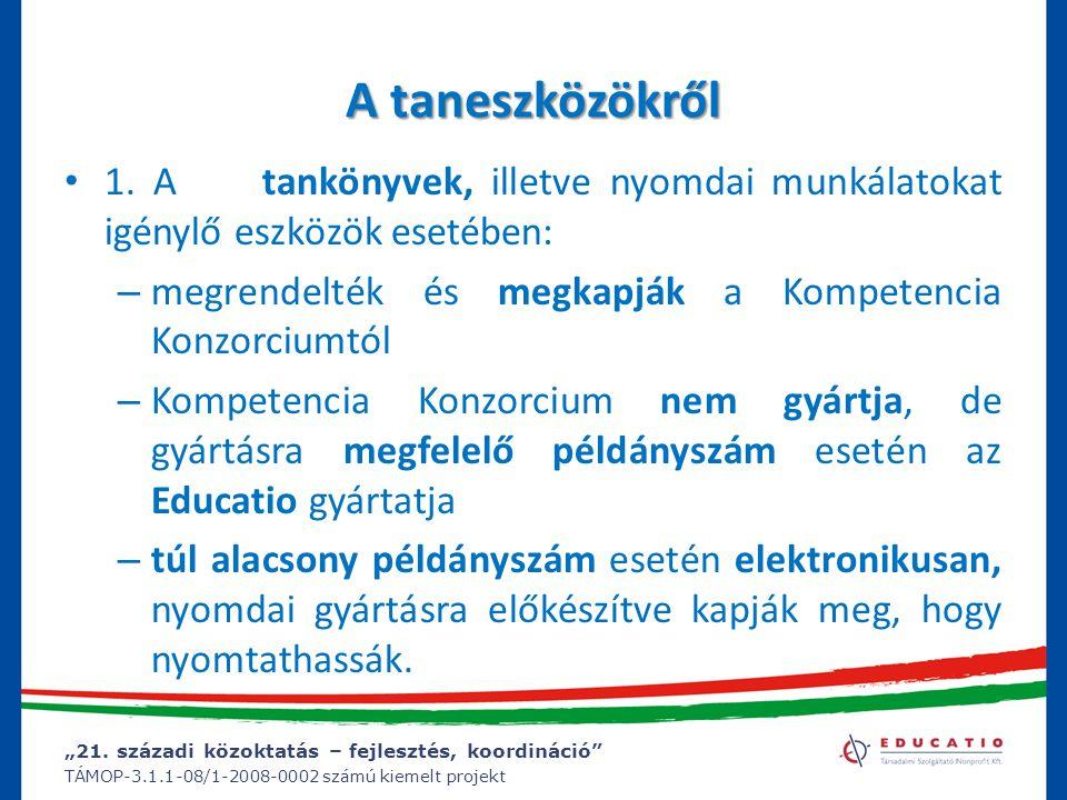 """""""21. századi közoktatás – fejlesztés, koordináció"""" TÁMOP-3.1.1-08/1-2008-0002 számú kiemelt projekt A taneszközökről 1. A tankönyvek, illetve nyomdai"""