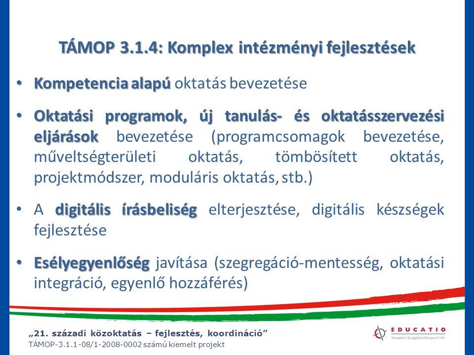 """""""21. századi közoktatás – fejlesztés, koordináció"""" TÁMOP-3.1.1-08/1-2008-0002 számú kiemelt projekt TÁMOP 3.1.4: Komplex intézményi fejlesztések Kompe"""