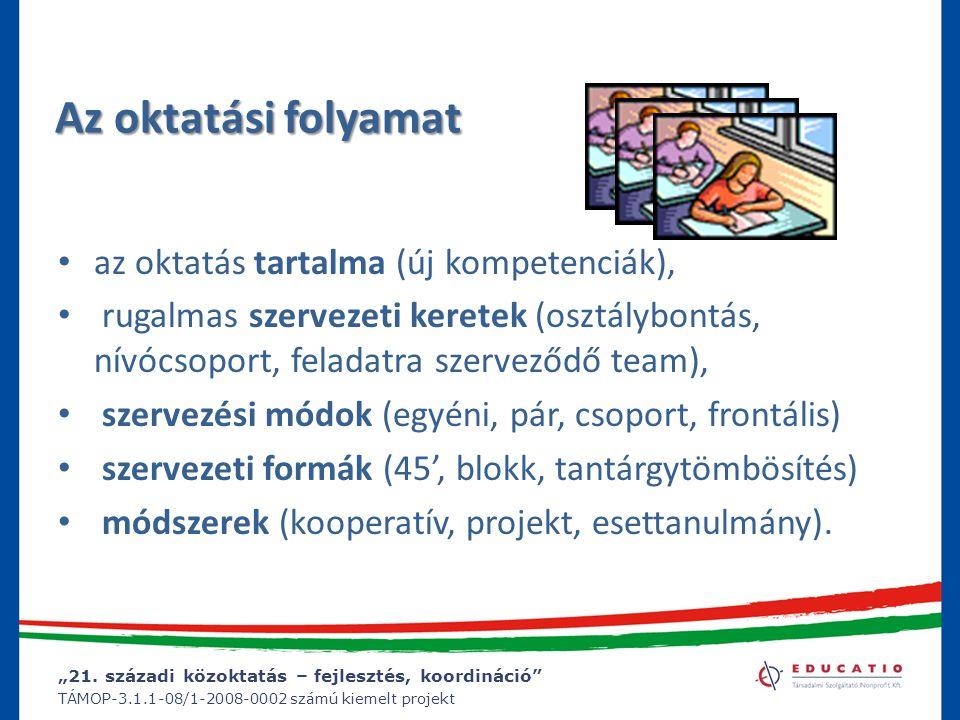 """""""21. századi közoktatás – fejlesztés, koordináció"""" TÁMOP-3.1.1-08/1-2008-0002 számú kiemelt projekt Az oktatási folyamat az oktatás tartalma (új kompe"""