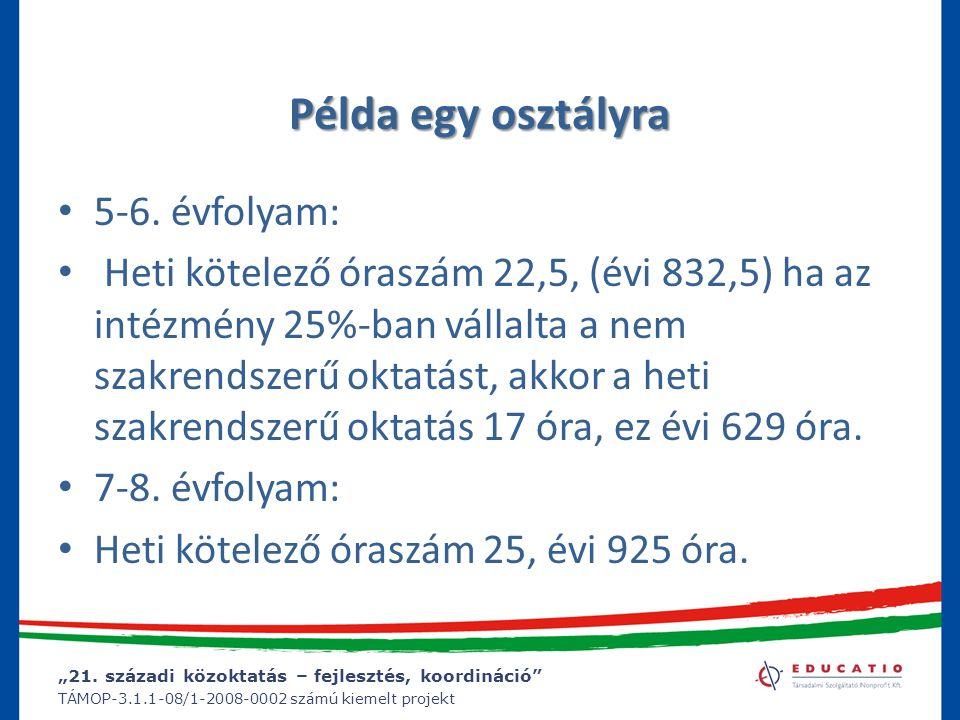 """""""21. századi közoktatás – fejlesztés, koordináció"""" TÁMOP-3.1.1-08/1-2008-0002 számú kiemelt projekt Példa egy osztályra 5-6. évfolyam: Heti kötelező ó"""