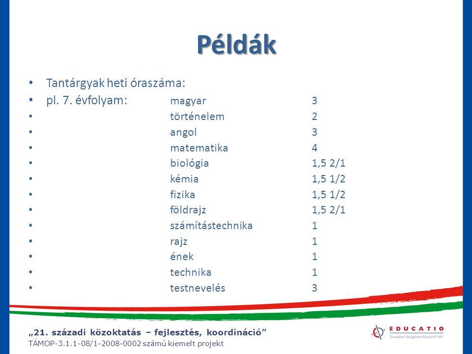 """""""21. századi közoktatás – fejlesztés, koordináció"""" TÁMOP-3.1.1-08/1-2008-0002 számú kiemelt projekt Példák Tantárgyak heti óraszáma: pl. 7. évfolyam:"""
