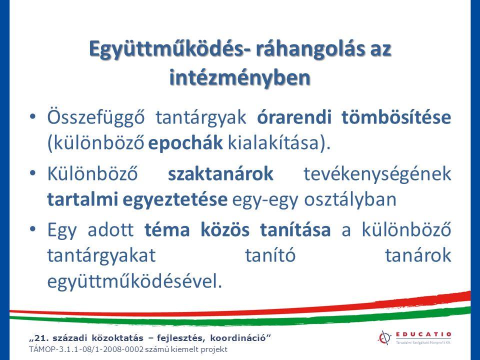 """""""21. századi közoktatás – fejlesztés, koordináció"""" TÁMOP-3.1.1-08/1-2008-0002 számú kiemelt projekt Együttműködés- ráhangolás az intézményben Összefüg"""