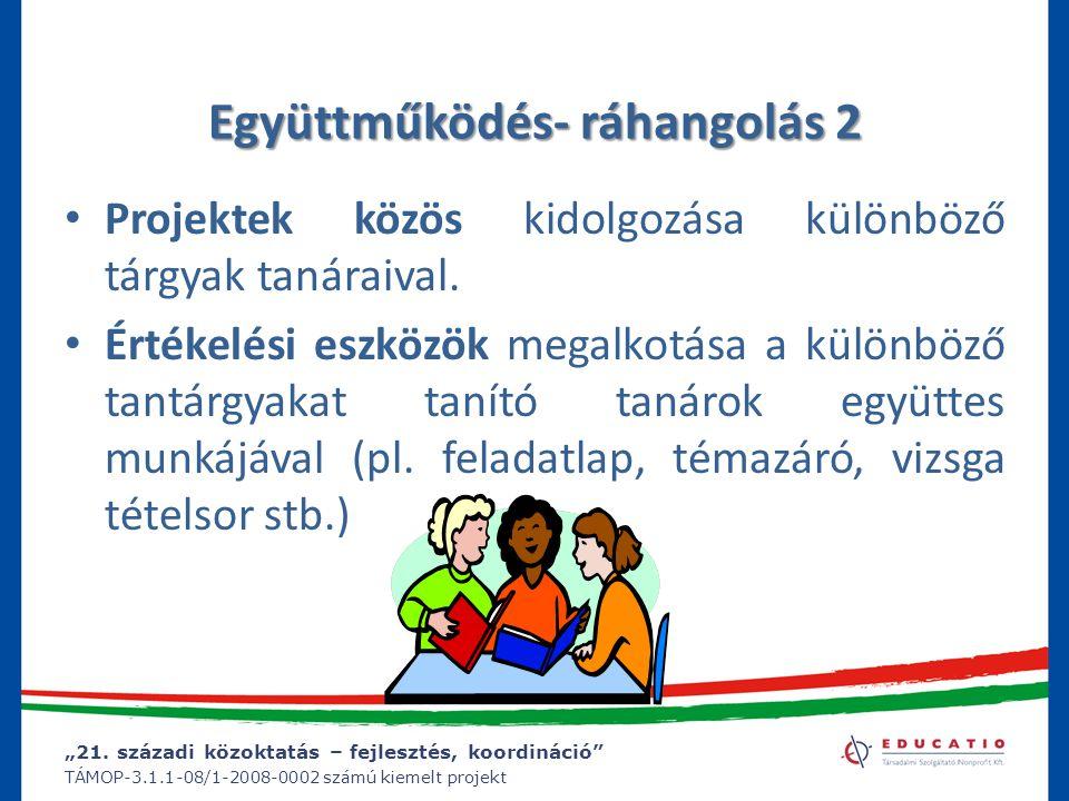 """""""21. századi közoktatás – fejlesztés, koordináció"""" TÁMOP-3.1.1-08/1-2008-0002 számú kiemelt projekt Együttműködés- ráhangolás 2 Projektek közös kidolg"""