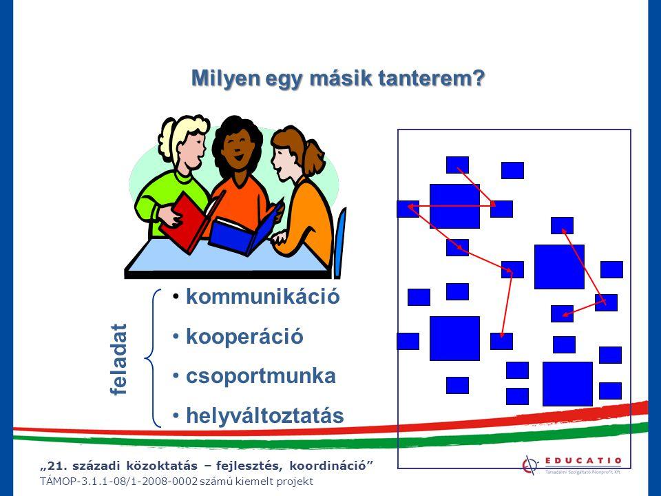 """""""21. századi közoktatás – fejlesztés, koordináció"""" TÁMOP-3.1.1-08/1-2008-0002 számú kiemelt projekt Milyen egy másik tanterem? kommunikáció kooperáció"""