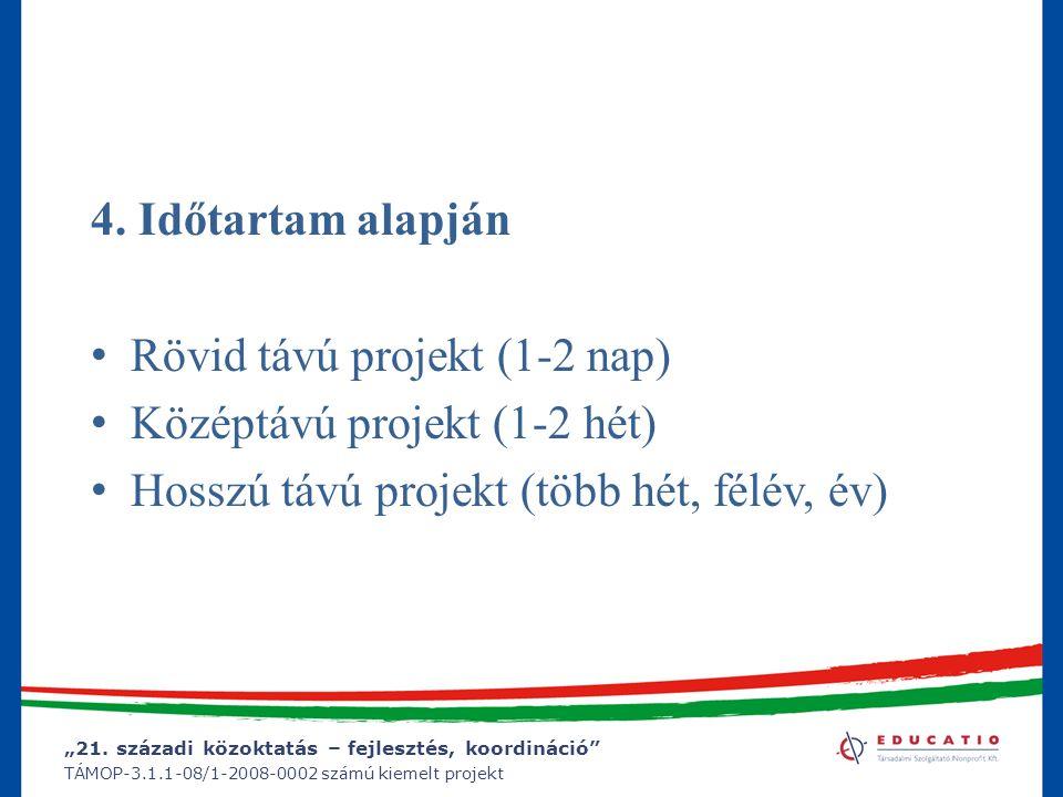 """""""21. századi közoktatás – fejlesztés, koordináció"""" TÁMOP-3.1.1-08/1-2008-0002 számú kiemelt projekt 4. Időtartam alapján Rövid távú projekt (1-2 nap)"""