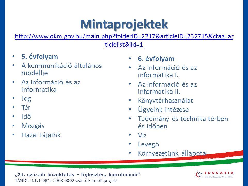 """""""21. századi közoktatás – fejlesztés, koordináció"""" TÁMOP-3.1.1-08/1-2008-0002 számú kiemelt projekt Mintaprojektek Mintaprojektek http://www.okm.gov.h"""