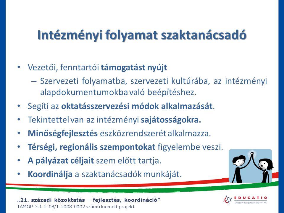 """""""21. századi közoktatás – fejlesztés, koordináció"""" TÁMOP-3.1.1-08/1-2008-0002 számú kiemelt projekt Intézményi folyamat szaktanácsadó Vezetői, fenntar"""