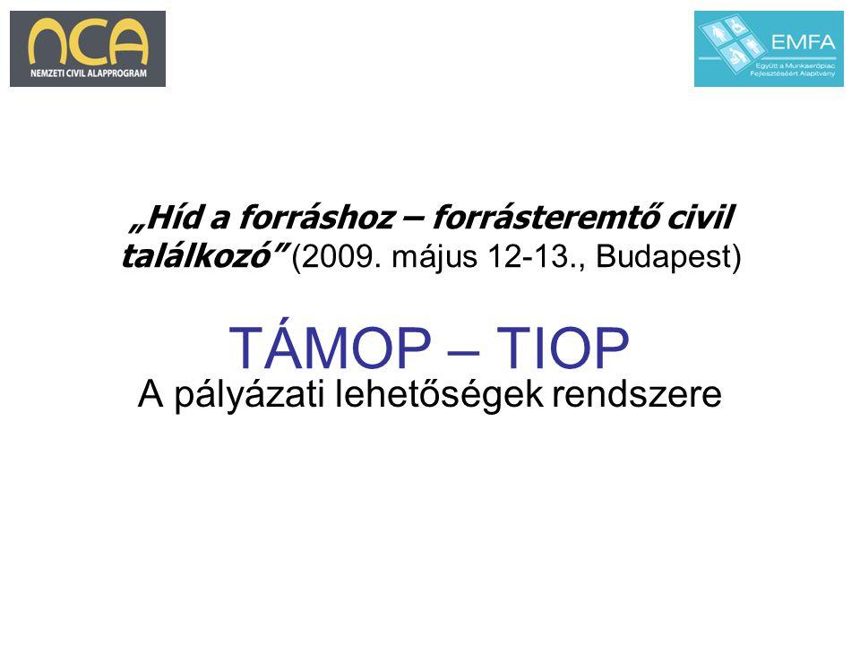 """""""Híd a forráshoz – forrásteremtő civil találkozó"""" (2009. május 12-13., Budapest) TÁMOP – TIOP A pályázati lehetőségek rendszere"""