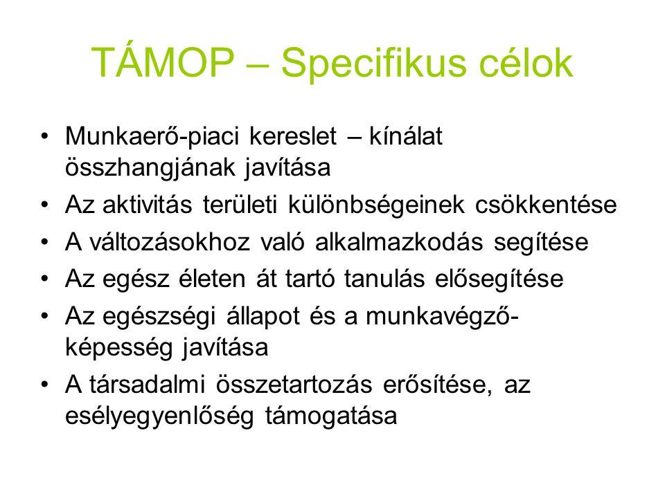 TÁMOP – Specifikus célok Munkaerő-piaci kereslet – kínálat összhangjának javítása Az aktivitás területi különbségeinek csökkentése A változásokhoz val
