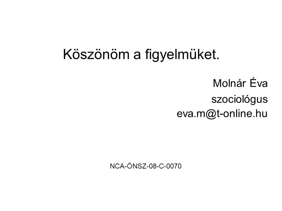Köszönöm a figyelmüket. Molnár Éva szociológus eva.m@t-online.hu NCA-ÖNSZ-08-C-0070
