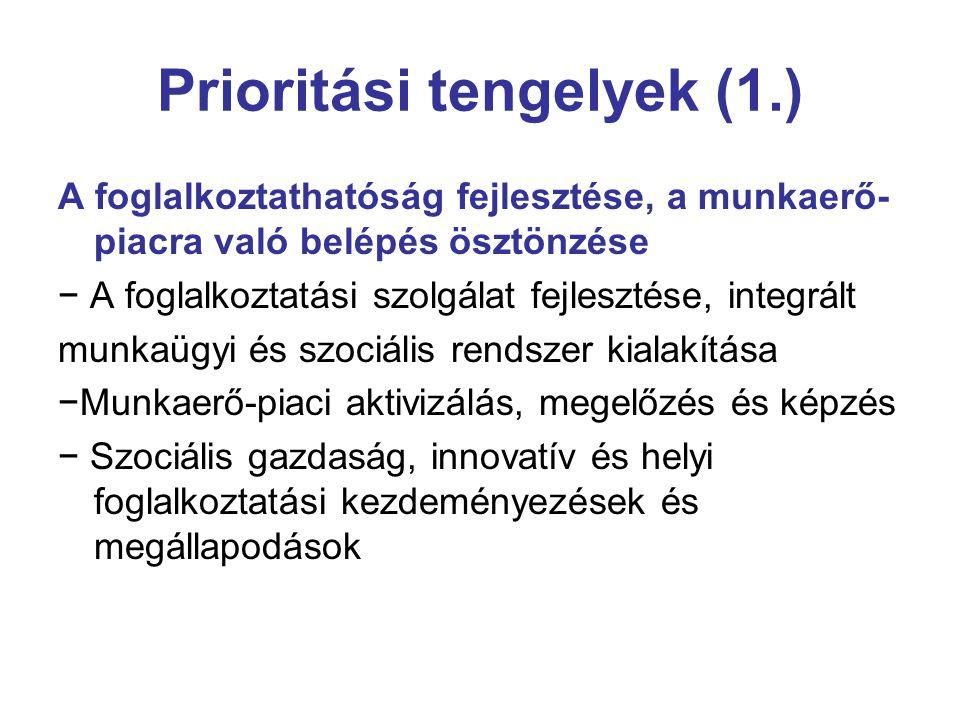 Prioritási tengelyek (1.) A foglalkoztathatóság fejlesztése, a munkaerő- piacra való belépés ösztönzése − A foglalkoztatási szolgálat fejlesztése, integrált munkaügyi és szociális rendszer kialakítása −Munkaerő-piaci aktivizálás, megelőzés és képzés − Szociális gazdaság, innovatív és helyi foglalkoztatási kezdeményezések és megállapodások