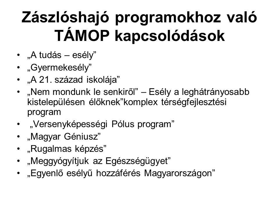 """Zászlóshajó programokhoz való TÁMOP kapcsolódások """"A tudás – esély """"Gyermekesély """"A 21."""