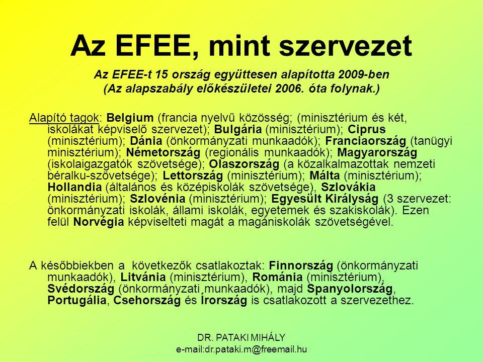 DR. PATAKI MIHÁLY e-mail:dr.pataki.m@freemail.hu Az EFEE, mint szervezet Az EFEE-t 15 ország együttesen alapította 2009-ben (Az alapszabály előkészüle