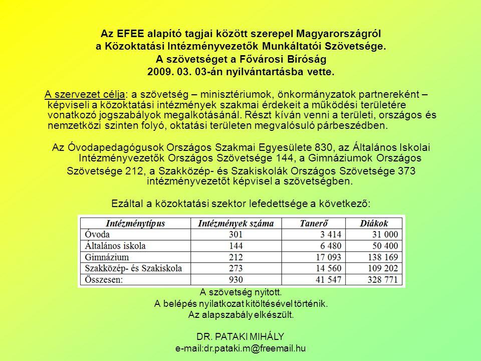 DR. PATAKI MIHÁLY e-mail:dr.pataki.m@freemail.hu Az EFEE alapító tagjai között szerepel Magyarországról a Közoktatási Intézményvezetők Munkáltatói Szö