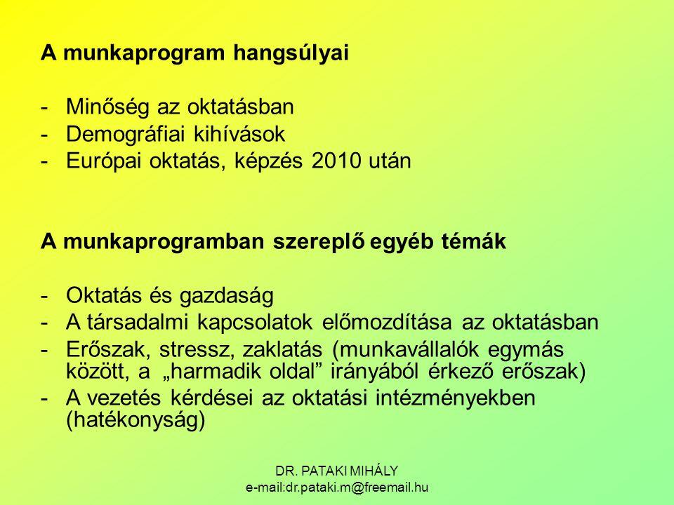 DR. PATAKI MIHÁLY e-mail:dr.pataki.m@freemail.hu A munkaprogram hangsúlyai -Minőség az oktatásban -Demográfiai kihívások -Európai oktatás, képzés 2010
