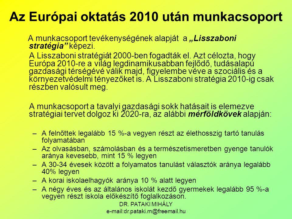 """DR. PATAKI MIHÁLY e-mail:dr.pataki.m@freemail.hu A munkacsoport tevékenységének alapját a """"Lisszaboni stratégia"""" képezi. A Lisszaboni stratégiát 2000-"""