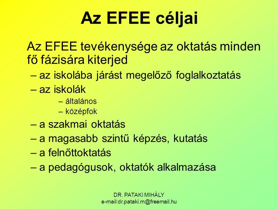 DR. PATAKI MIHÁLY e-mail:dr.pataki.m@freemail.hu Az EFEE céljai Az EFEE tevékenysége az oktatás minden fő fázisára kiterjed –az iskolába járást megelő