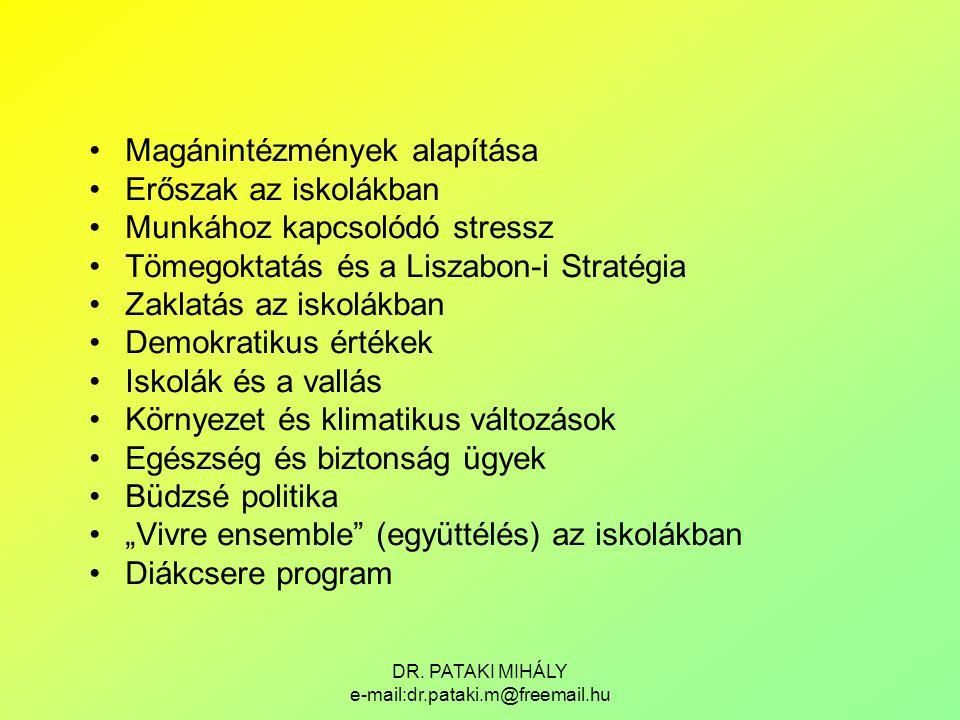DR. PATAKI MIHÁLY e-mail:dr.pataki.m@freemail.hu Magánintézmények alapítása Erőszak az iskolákban Munkához kapcsolódó stressz Tömegoktatás és a Liszab
