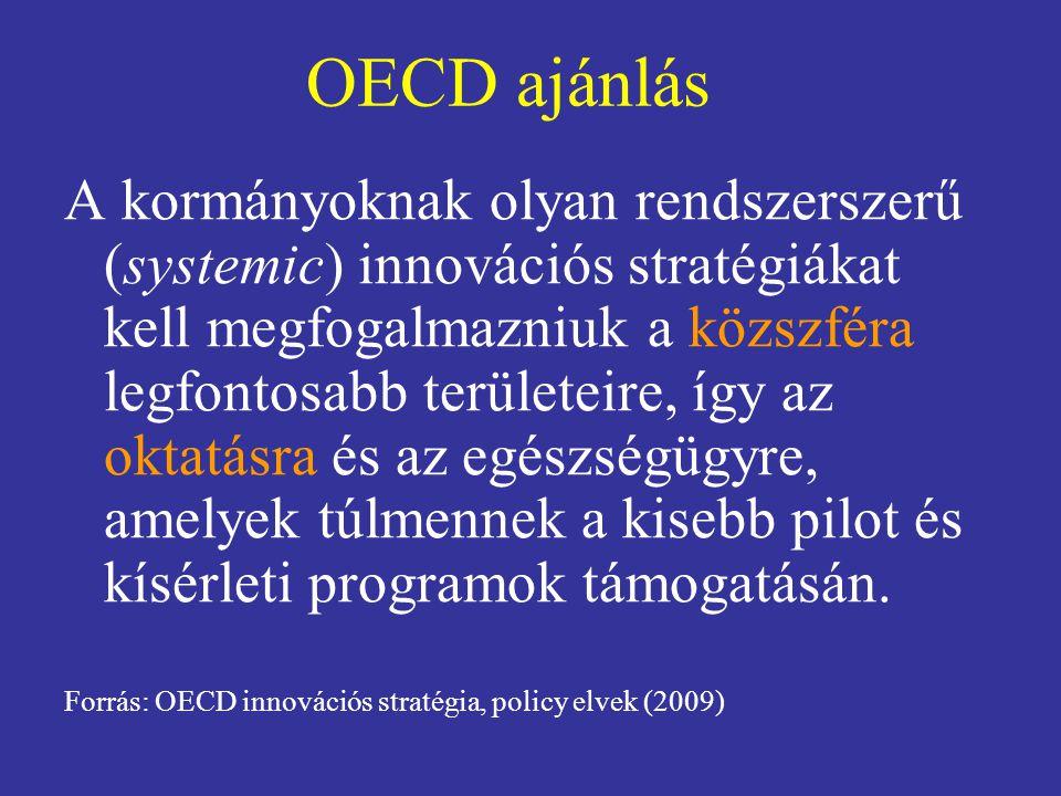 OECD ajánlás A kormányoknak olyan rendszerszerű (systemic) innovációs stratégiákat kell megfogalmazniuk a közszféra legfontosabb területeire, így az oktatásra és az egészségügyre, amelyek túlmennek a kisebb pilot és kísérleti programok támogatásán.