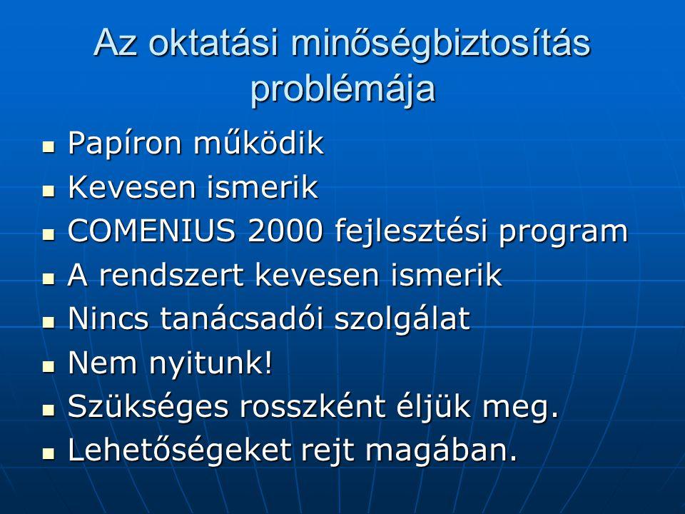 Papíron működik Papíron működik Kevesen ismerik Kevesen ismerik COMENIUS 2000 fejlesztési program COMENIUS 2000 fejlesztési program A rendszert kevesen ismerik A rendszert kevesen ismerik Nincs tanácsadói szolgálat Nincs tanácsadói szolgálat Nem nyitunk.
