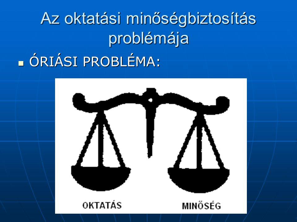 Az oktatási minőségbiztosítás problémája ÓRIÁSI PROBLÉMA: ÓRIÁSI PROBLÉMA:
