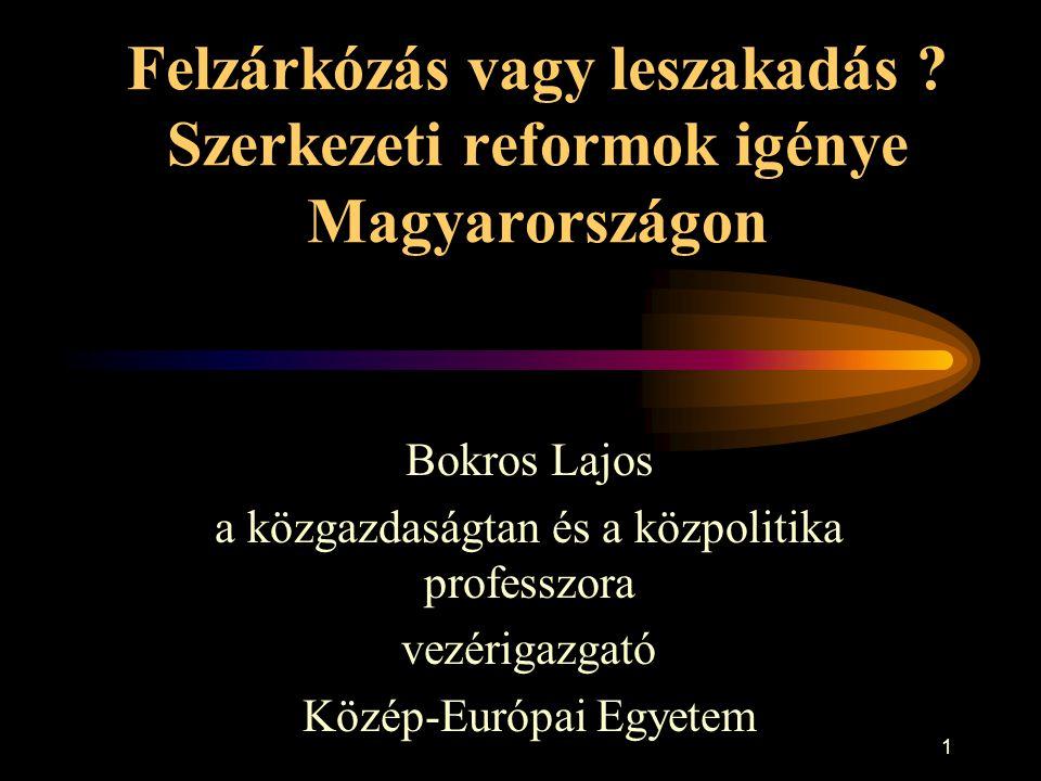 1 Felzárkózás vagy leszakadás ? Szerkezeti reformok igénye Magyarországon Bokros Lajos a közgazdaságtan és a közpolitika professzora vezérigazgató Köz