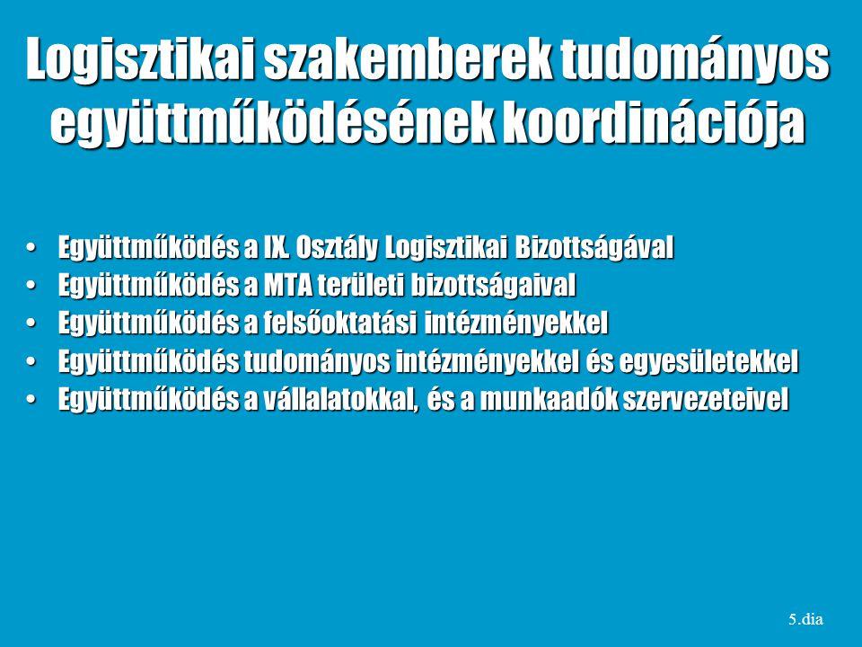 Logisztikai szakemberek tudományos együttműködésének koordinációja Együttműködés a IX.