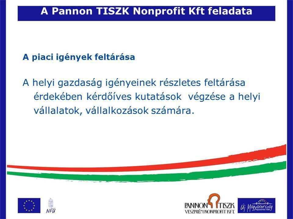 A Pannon TISZK Nonprofit Kft feladata A piaci igények feltárása A helyi gazdaság igényeinek részletes feltárása érdekében kérdőíves kutatások végzése a helyi vállalatok, vállalkozások számára.