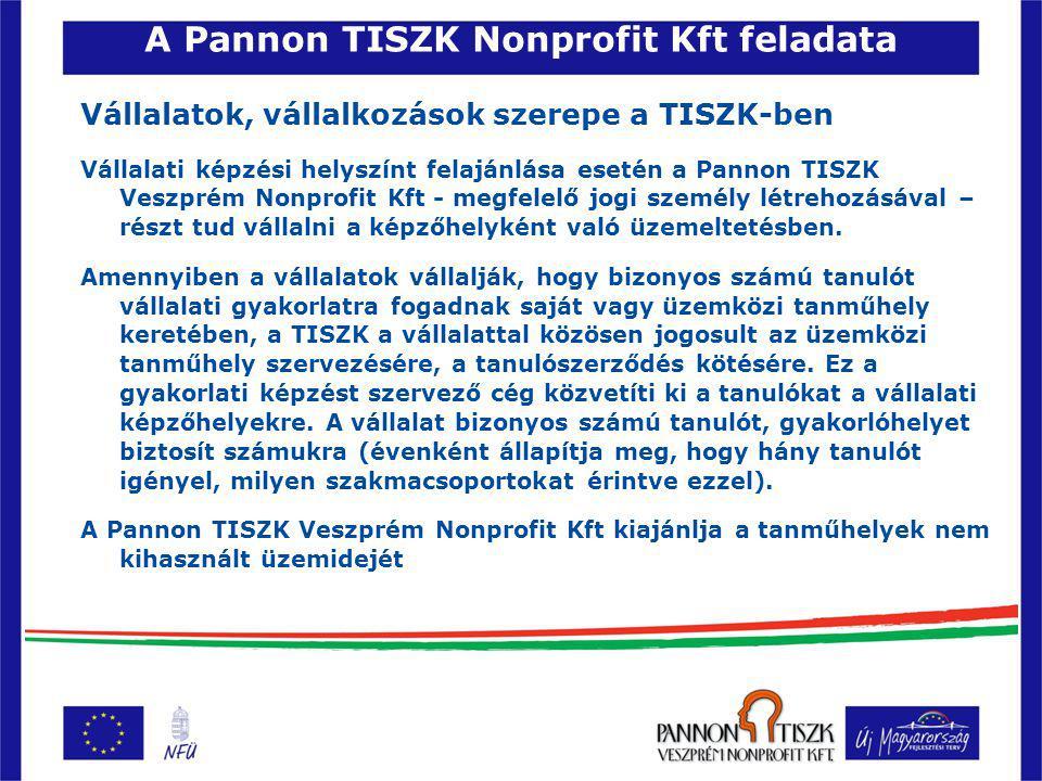 A Pannon TISZK Nonprofit Kft feladata Vállalatok, vállalkozások szerepe a TISZK-ben Vállalati képzési helyszínt felajánlása esetén a Pannon TISZK Veszprém Nonprofit Kft - megfelelő jogi személy létrehozásával – részt tud vállalni a képzőhelyként való üzemeltetésben.