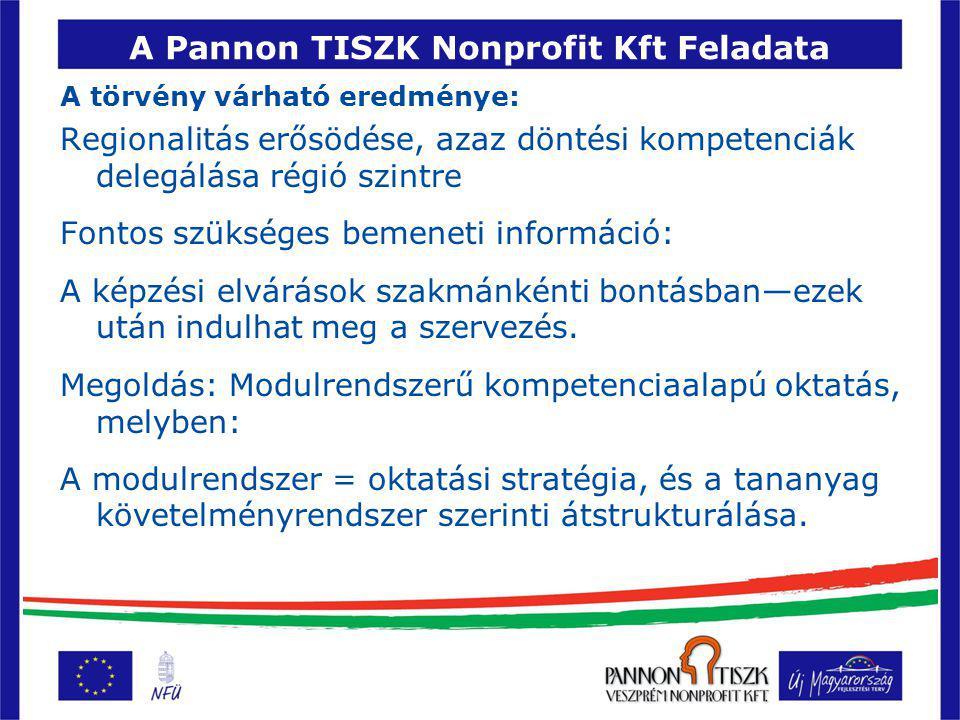A Pannon TISZK Nonprofit Kft Feladata A törvény várható eredménye: Regionalitás erősödése, azaz döntési kompetenciák delegálása régió szintre Fontos szükséges bemeneti információ: A képzési elvárások szakmánkénti bontásban—ezek után indulhat meg a szervezés.