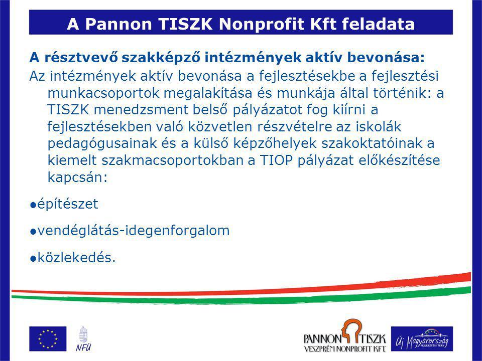 A Pannon TISZK Nonprofit Kft feladata A résztvevő szakképző intézmények aktív bevonása: Az intézmények aktív bevonása a fejlesztésekbe a fejlesztési munkacsoportok megalakítása és munkája által történik: a TISZK menedzsment belső pályázatot fog kiírni a fejlesztésekben való közvetlen részvételre az iskolák pedagógusainak és a külső képzőhelyek szakoktatóinak a kiemelt szakmacsoportokban a TIOP pályázat előkészítése kapcsán: ●építészet ●vendéglátás-idegenforgalom ●közlekedés.