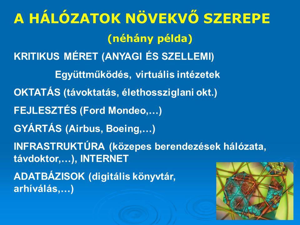 A HÁLÓZATOK NÖVEKVŐ SZEREPE (néhány példa) KRITIKUS MÉRET (ANYAGI ÉS SZELLEMI) Együttműködés, virtuális intézetek OKTATÁS (távoktatás, élethossziglani