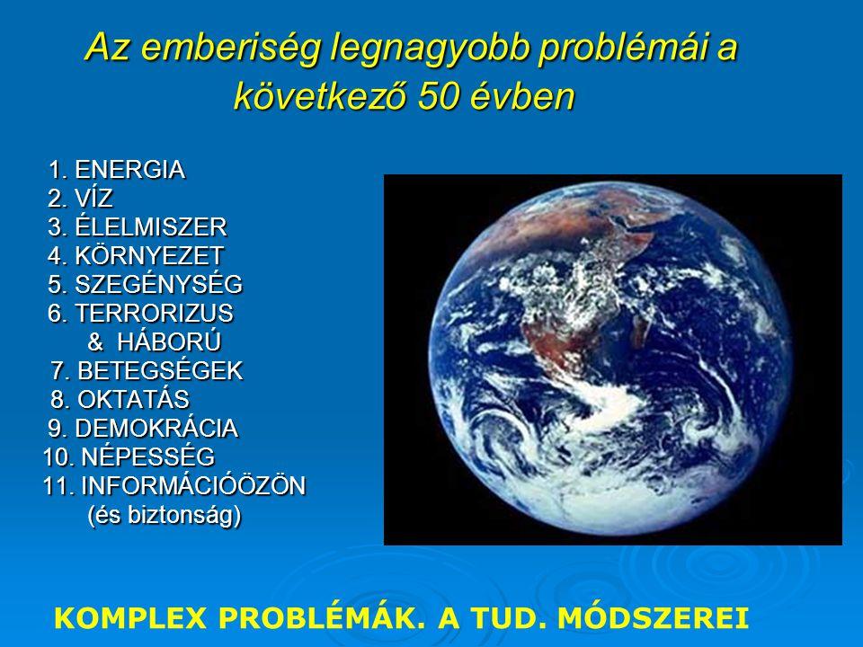 Az emberiség legnagyobb problémái a következő 50 évben Az emberiség legnagyobb problémái a következő 50 évben 1. ENERGIA 1. ENERGIA 2. VÍZ 2. VÍZ 3. É