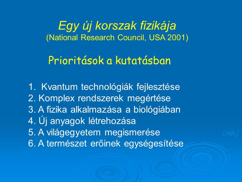 Egy új korszak fizikája (National Research Council, USA 2001) Prioritások a kutatásban 1. Kvantum technológiák fejlesztése 2. Komplex rendszerek megér