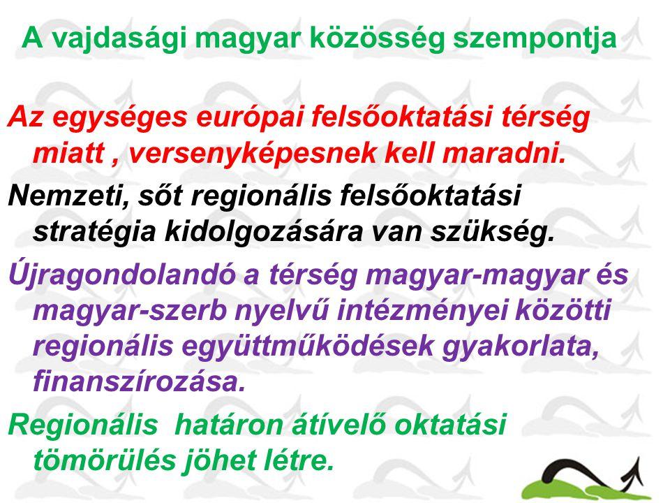 A vajdasági magyar közösség szempontja Az egységes európai felsőoktatási térség miatt, versenyképesnek kell maradni.
