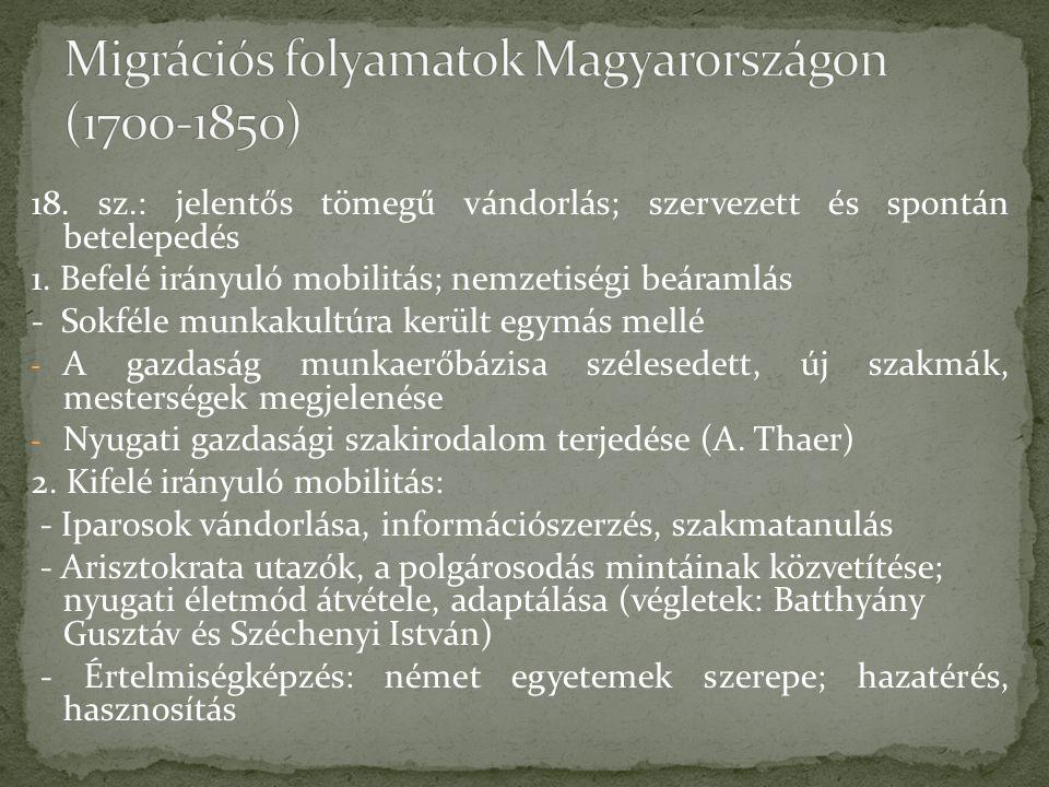 18.sz.: jelentős tömegű vándorlás; szervezett és spontán betelepedés 1.