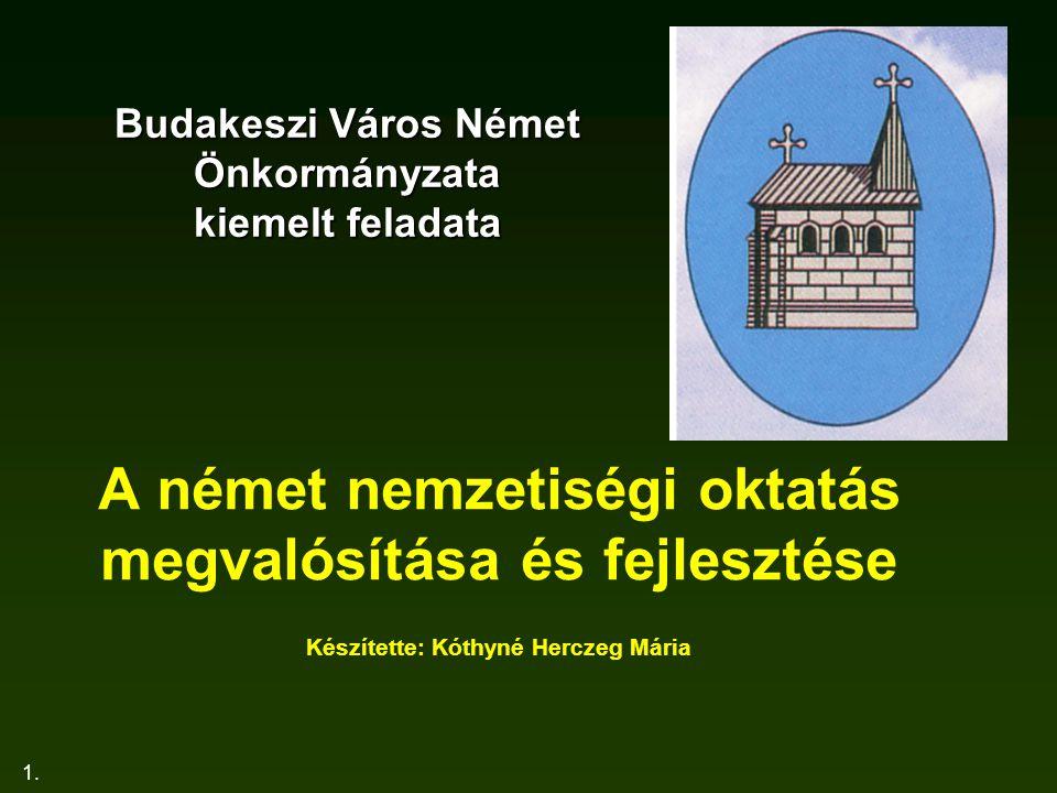 1. Budakeszi Város Német Önkormányzata kiemelt feladata A német nemzetiségi oktatás megvalósítása és fejlesztése Készítette: Kóthyné Herczeg Mária