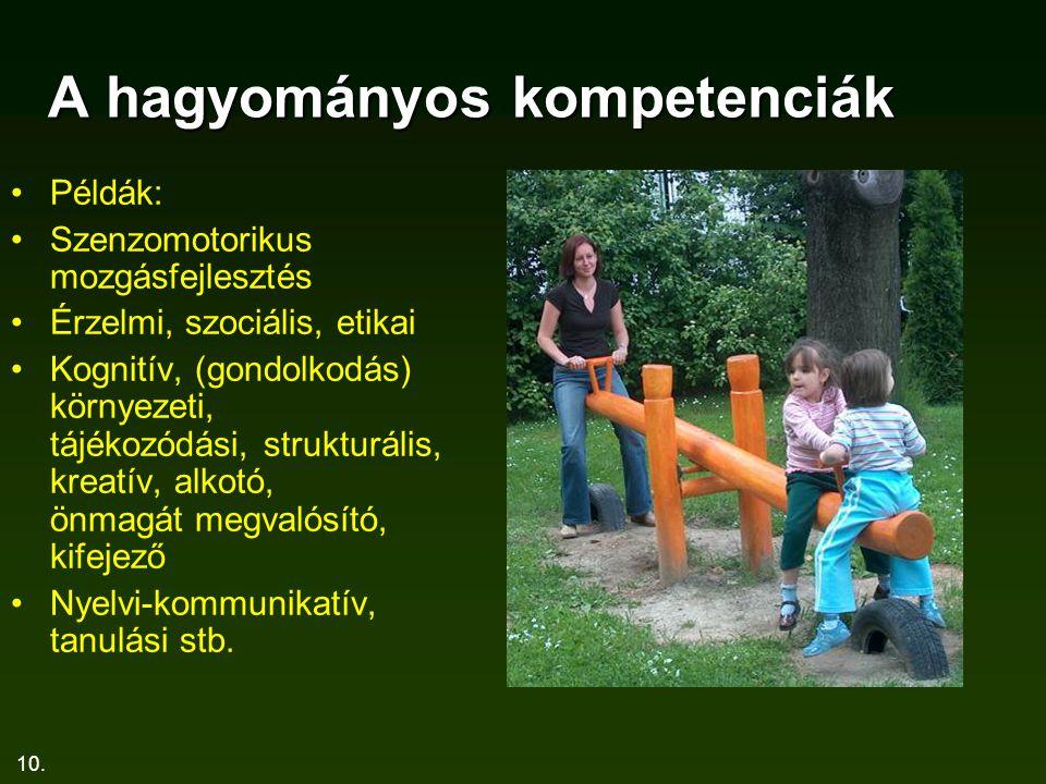 10. A hagyományos kompetenciák Példák: Szenzomotorikus mozgásfejlesztés Érzelmi, szociális, etikai Kognitív, (gondolkodás) környezeti, tájékozódási, s