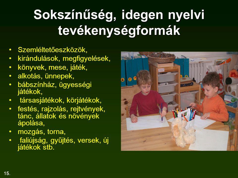 15. Sokszínűség, idegen nyelvi tevékenységformák Szemléltetőeszközök, kirándulások, megfigyelések, könyvek, mese, játék, alkotás, ünnepek, bábszínház,