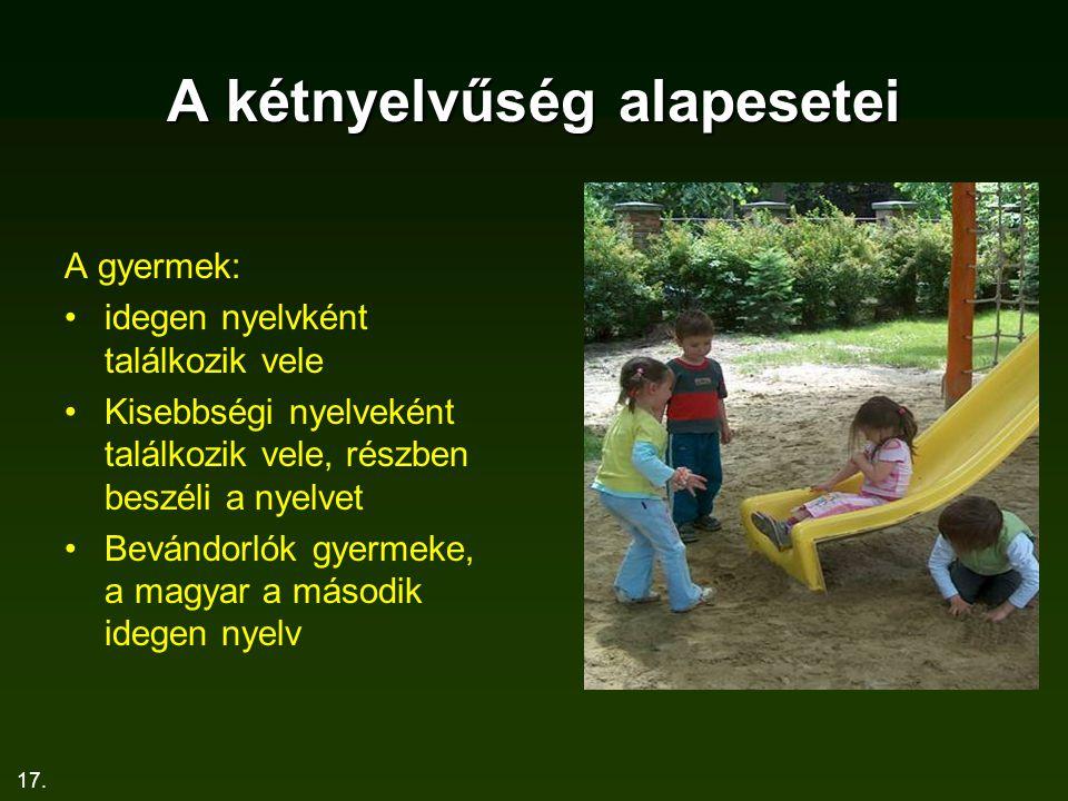 17. A kétnyelvűség alapesetei A gyermek: idegen nyelvként találkozik vele Kisebbségi nyelveként találkozik vele, részben beszéli a nyelvet Bevándorlók