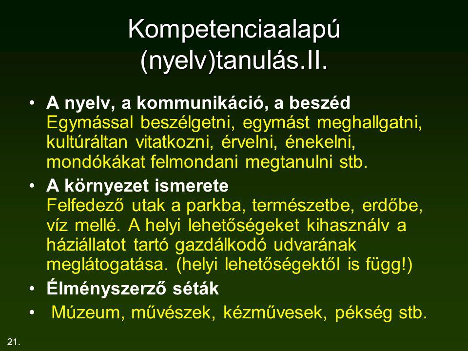 21. Kompetenciaalapú (nyelv)tanulás.II. A nyelv, a kommunikáció, a beszéd Egymással beszélgetni, egymást meghallgatni, kultúráltan vitatkozni, érvelni